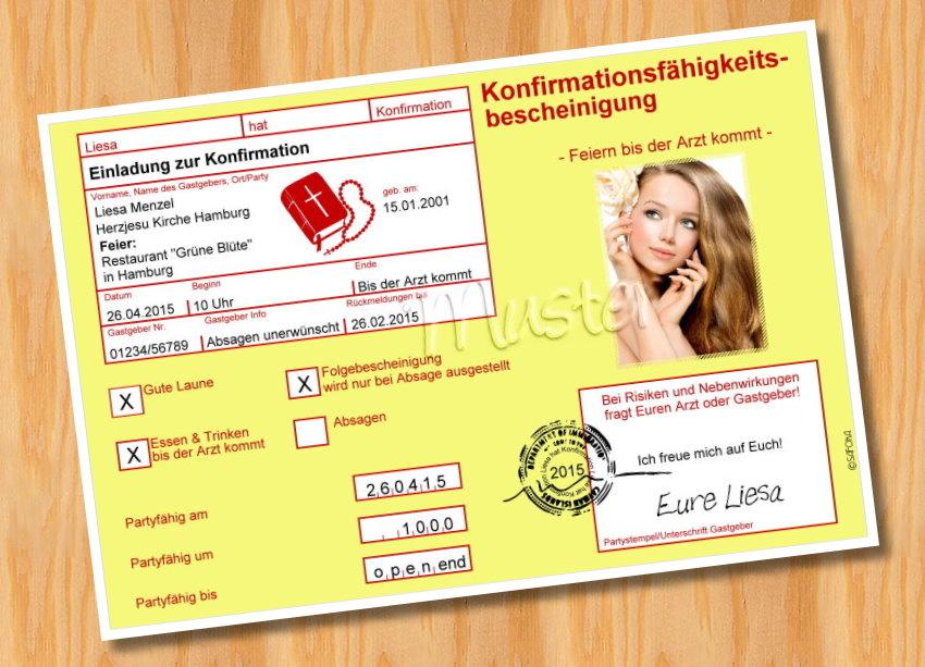 witzige einladungskarten konfirmation, Einladung