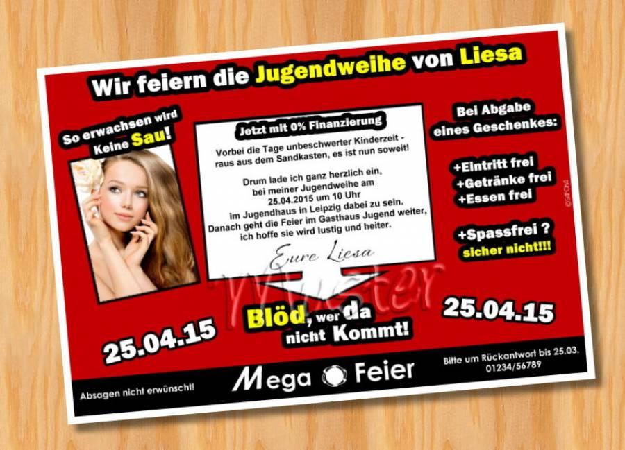 Einladung Einladungskarten Jugendweihe MUSTER 6