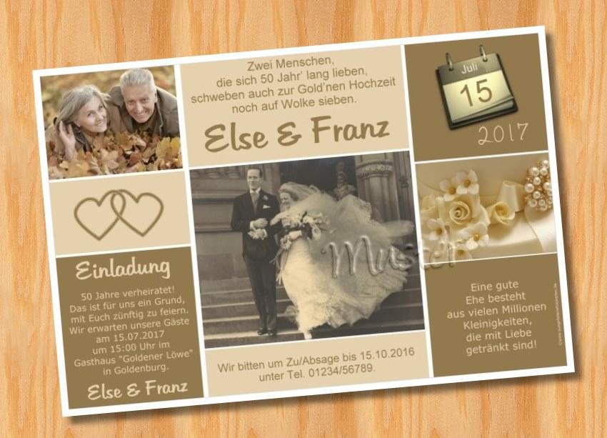 Außergewöhnlich Einladungskarten Goldene Hochzeit 1