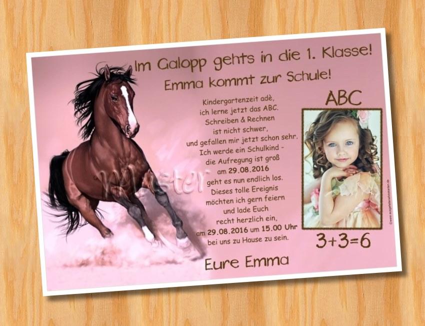 Einladungskarten Einschulung Schulanfang Pferd 126