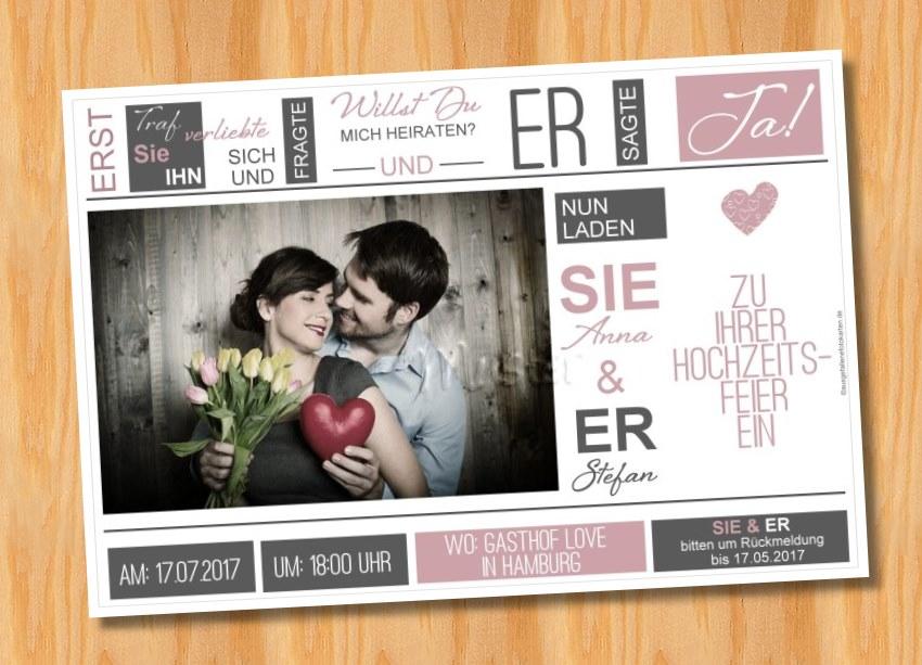 Ausgefallene Einladungskarten Einladungen Hochzeit 56