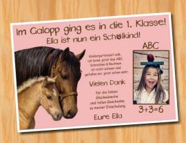 Ausgefallene Dankeskarten  Danksagungskarten Einschulung Pferde 396 - Bild vergrößern