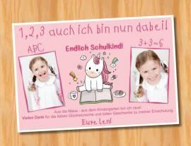 Ausgefallene Dankeskarten  Danksagungskarten Einschulung Einhorn 444 - Bild vergrößern