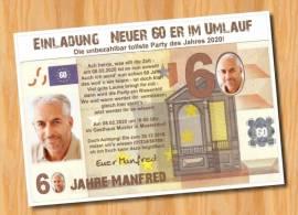 Ausgefallene Einladungskarten Geburtstag Geldschein 60 - Bild vergrößern