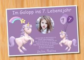 Ausgefallene Einladungskarten Kindergeburtstag Einhorn 82 - Bild vergrößern
