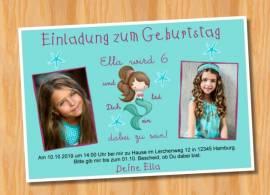 Ausgefallene Einladungskarten Kindergeburtstag Meerjungfrau 78 - Bild vergrößern