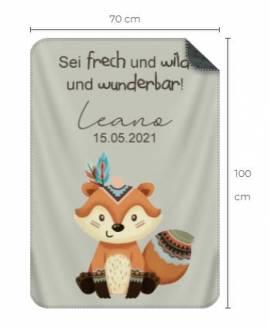 Babydecke personalisiert Geschenk Geburt Boho Fuchs 1 - Bild vergrößern