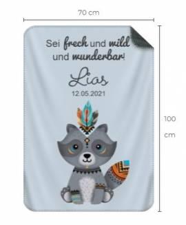 Babydecke personalisiert Geschenk Geburt Boho Waldtiere 3 - Bild vergrößern