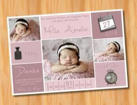 Ausgefallene Babykarten cute Dankeskarten Geburt 307 - Bild vergrößern