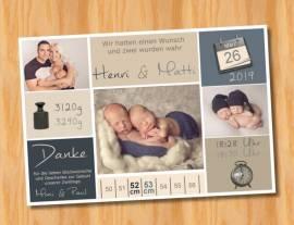 Danksagungskarten Geburtskarten Zwillinge 4 - Bild vergrößern