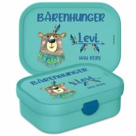 Brotdose Lunchbox mit Namen Geschenk Einschulung Kita Bär - Bild vergrößern