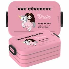 Brotdose Lunchbox mit Namen Geschenk Einschulung Kita Einhorn 2 - Bild vergrößern