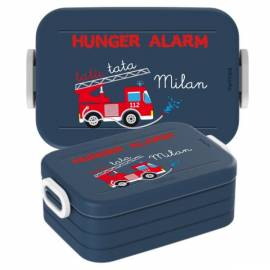 Brotdose Lunchbox mit Namen Geschenk Einschulung Kita Feuerwehr 2 - Bild vergrößern
