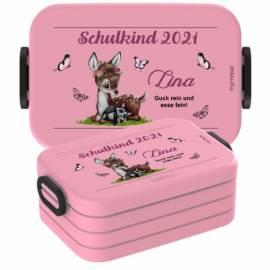 Brotdose Lunchbox mit Namen Geschenk Einschulung Kita Reh 2 - Bild vergrößern