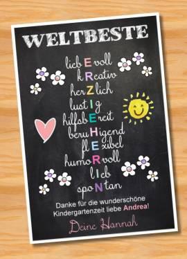 Poster Abschied Kindergarten Abschiedsgeschenk Erzieherin 7 - Bild vergrößern