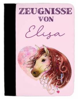 Zeugnissmappe Dokumentenmappe personalisiert Boho Pferd 7 - Bild vergrößern