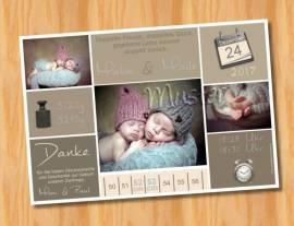 Danksagungskarten Geburtskarten Zwillinge MUSTER 2  - Bild vergrößern