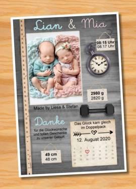 Ausgefallene Danksagungskarten Geburt Geburtskarten Zwillinge 45 - Bild vergrößern