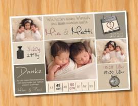 Ausgefallene Danksagungskarten Geburt Geburtskarten Zwillinge 47 - Bild vergrößern