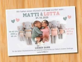 Ausgefallene Danksagungskarten Geburt Geburtskarten Zwillinge 48 - Bild vergrößern