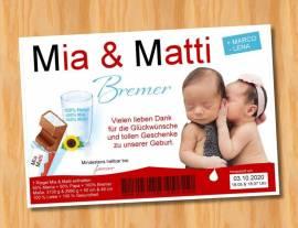 Ausgefallene Danksagungskarten Geburt Geburtskarten Zwillinge 49 - Bild vergrößern