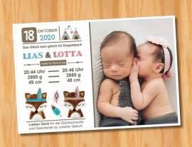 Ausgefallene Danksagungskarten Geburt Geburtskarten Zwillinge 50 - Bild vergrößern