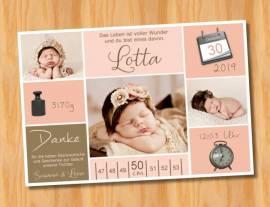 Ausgefallene Babykarten cute Baby Danksagungskarten Geburt 413 - Bild vergrößern