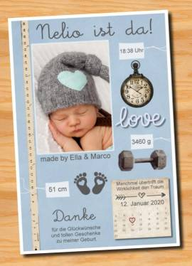 Ausgefallene Babykarten cute Baby Danksagungskarten Geburt 451 - Bild vergrößern