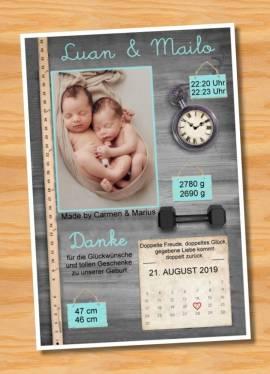 Danksagungskarten Geburt Geburtskarten Zwillinge  6 - Bild vergrößern