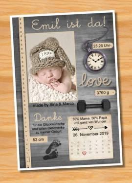 Ausgefallene Babykarten cute Baby Danksagungskarten Geburt 432 - Bild vergrößern