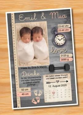 Ausgefallene Danksagungskarten Geburt Geburtskarten Zwillinge 41 - Bild vergrößern