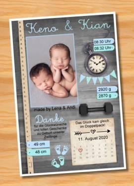 Ausgefallene Danksagungskarten Geburt Geburtskarten Zwillinge 42 - Bild vergrößern