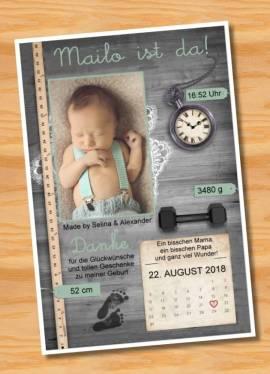 Ausgefallene Babykarten Dankeskarten Geburt 270 - Bild vergrößern