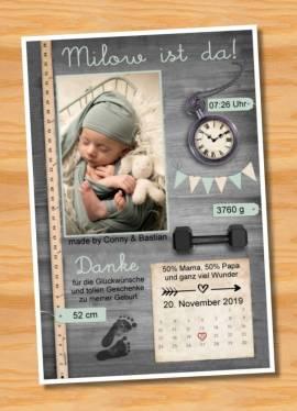 Ausgefallene Babykarten cute Baby Danksagungskarten Geburt 424 - Bild vergrößern