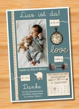 Ausgefallene Baby cute  Danksagungskarten Danksagungen Geburt 484 - Bild vergrößern