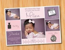 Ausgefallene Babykarten cute Baby Danksagungskarten Geburt 444 - Bild vergrößern