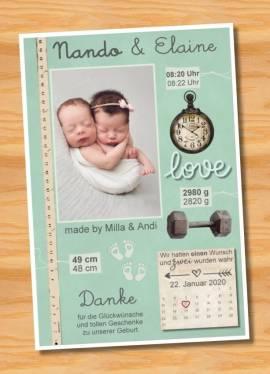 Danksagungskarten Geburt Geburtskarten Zwillinge 17 - Bild vergrößern