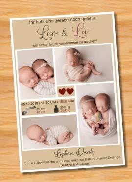 Danksagungskarten Geburt Geburtskarten Zwillinge 10 - Bild vergrößern