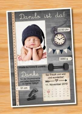 Ausgefallene Babykarten cute Baby Danksagungskarten Geburt 415 - Bild vergrößern