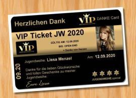 Ausgefallene Danksagungskarten Jugendweihe VIP Ticket 89 - Bild vergrößern
