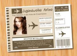 Ausgefallene Einladungen Einladungskarten Flugticket Jugendweihe 140 - Bild vergrößern