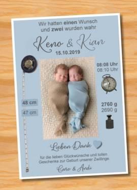 Danksagungskarten Geburt Geburtskarten Zwillinge 12 - Bild vergrößern