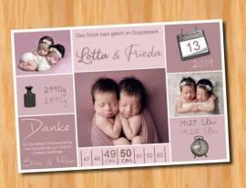 Danksagungskarten Geburt Geburtskarten Zwillinge 14 - Bild vergrößern
