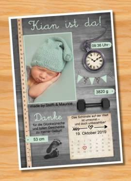 Ausgefallene Babykarten cute Baby Danksagungskarten Geburt 412 - Bild vergrößern