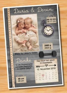 Danksagungskarten Geburt Geburtskarten Zwillinge 16 - Bild vergrößern