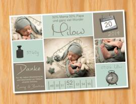 Ausgefallene Babykarten cute Baby Danksagungskarten Geburt 425 - Bild vergrößern