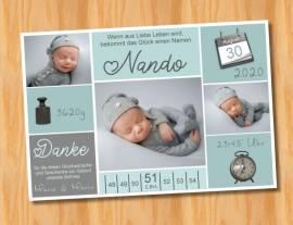 Ausgefallene Baby cute  Danksagungskarten Danksagungen Geburt 487 - Bild vergrößern