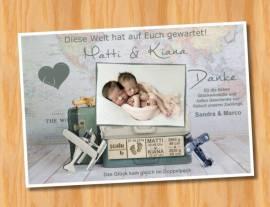 Danksagungskarten Geburt Geburtskarten Zwillinge 13 - Bild vergrößern