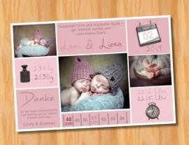 Danksagungskarten Geburtskarten Zwillinge 3 - Bild vergrößern
