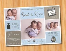Danksagungskarten Geburt Geburtskarten Zwillinge 15 - Bild vergrößern
